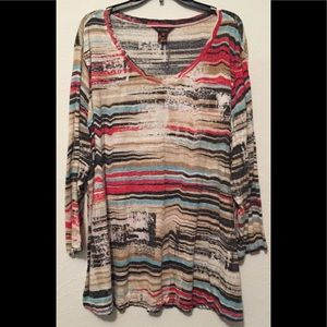 Multiples, Women's V neck Print Blouse